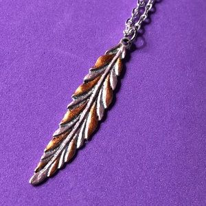 Feather necklace handmade & painted one of a kind